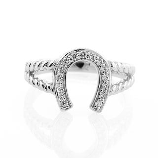 London Fine Jewelry Diamond Horseshoe Ring in 14K White Gold