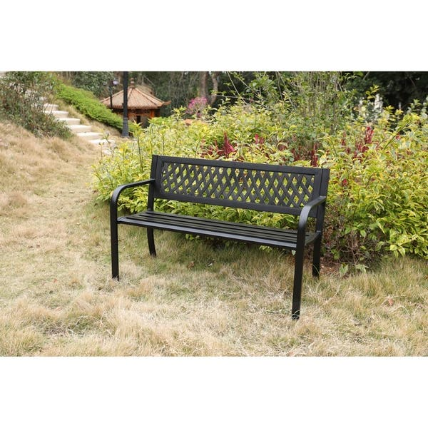 Red Oak Kitchen Table, Shop Gardenised Black Patio Garden Park Yard 47 Steel Bench With Plastic Back Overstock 20526268