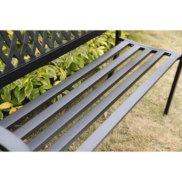 Terrific Shop Gardenised Black Patio Garden Park Yard 47 Steel Bench Machost Co Dining Chair Design Ideas Machostcouk