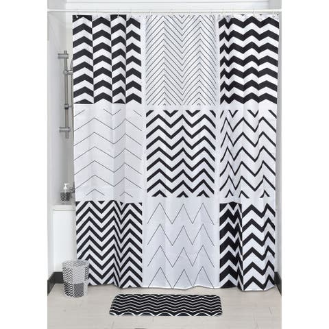 Evideco Zigzag Printed Polyester Fabric Shower Curtain 71Wx79H