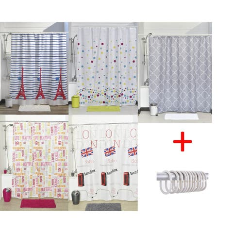 Printed Shower Curtain Polyester Fabric 71W x 79L Set 12 White Shower Rings