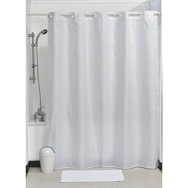 PLAIN WATER REPELLENT SHOWER//BATH ROOM CURTAIN DIFFERENT COLOURS WITH 12 HOOKS