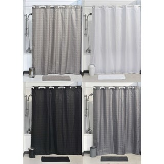 Evideco Hookless Shower Curtain Polyester Cubic- Color Matching Hooks 71L x 79H/ 180 x 200 cm