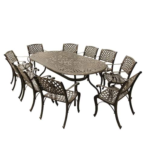 Goodland Outdoor Mesh Lattice 95 inch Bronze Oval Dining Set with Ten Chairs by Havenside Home