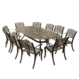 Gracewood Hollow Panarello Outdoor Mesh Lattice 95-inch Bronze Oval Dining Set with Ten Chairs
