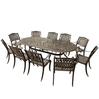 Havenside Home Goodland Outdoor Lattice 95 inch Bronze Oval Dining Set with Ten Chairs
