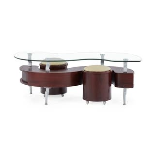 Global Furniture Mahogany Coffee Table With Cuccino Cushions