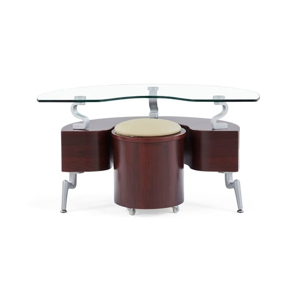 Superieur Global Furniture Mahogany Wood And Glass Semi Circle End Table With  Cappuccino Cushions