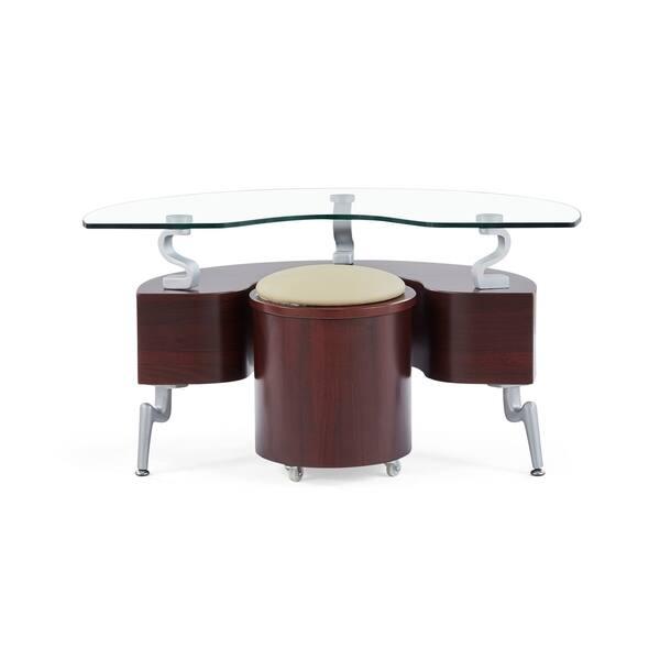 Global Furniture Mahogany Wood And Gl Semi Circle End Table With Cuccino Cushions