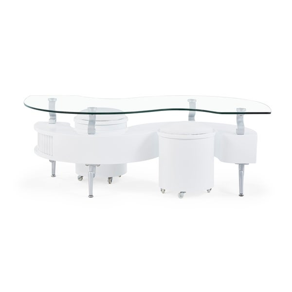 Attrayant Global Furniture White Coffee Table With Glass Top And White Cushioned  Stools