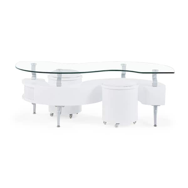 Global Furniture White Coffee Table With Gl Top And Cushioned Stools