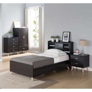 Basil Contemporary 2-piece Cappuccino Bed and Nightstand Set