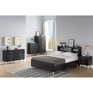 Basil Contemporary 3-piece Cappuccino Bed, Nightstand and Dresser Set (2 options available)