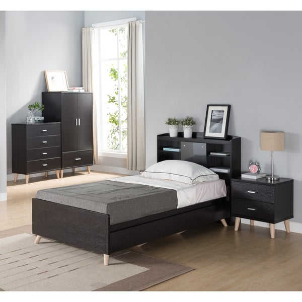 Basil Contemporary 3-piece Cappuccino Bed, Nightstand and Chest Set