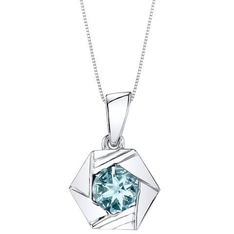 Oravo Aquamarine Sterling Silver Cirque Pendant Necklace - Blue