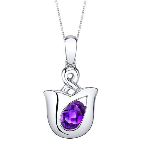 Oravo Amethyst Sterling Silver Tulip Pendant Necklace - Purple