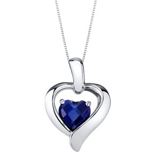 Oravo Created Sapphire Sterling Silver Heart in Heart Pendant Necklace - Blue