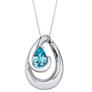 Oravo Swiss Blue Topaz Sterling Silver Wave Pendant Necklace
