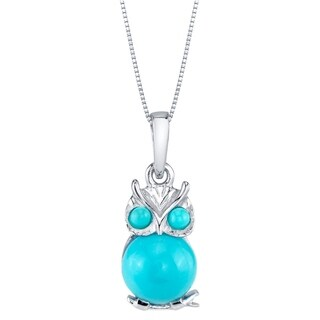 Oravo Sterling Silver Mini Owl Synthetic Turquoise Pendant Necklace - Blue