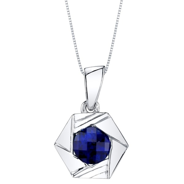 5db1e1bcffec1f Shop Oravo Created Sapphire Sterling Silver Cirque Pendant Necklace - Blue  - On Sale - Free Shipping On Orders Over $45 - Overstock - 20526637
