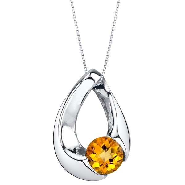 Oravo Citrine Sterling Silver Slider Pendant Necklace - Yellow. Opens flyout.