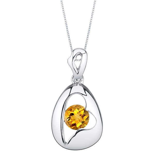 Oravo Citrine Sterling Silver Minimalist Pendant Necklace - Yellow. Opens flyout.