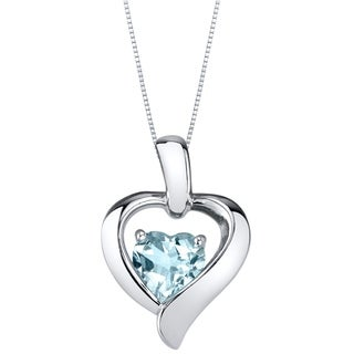 Oravo Aquamarine Sterling Silver Heart in Heart Pendant Necklace - Blue