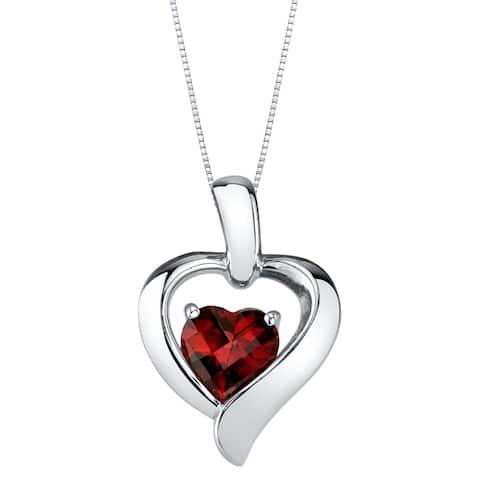 Oravo Garnet Sterling Silver Heart in Heart Pendant Necklace - Red