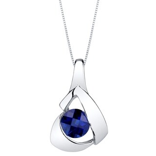 Oravo Created Sapphire Sterling Silver Chiseled Pendant Necklace - Blue