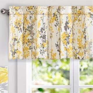 DriftAway Leah Floral Blossom Ink Painting Window Valance