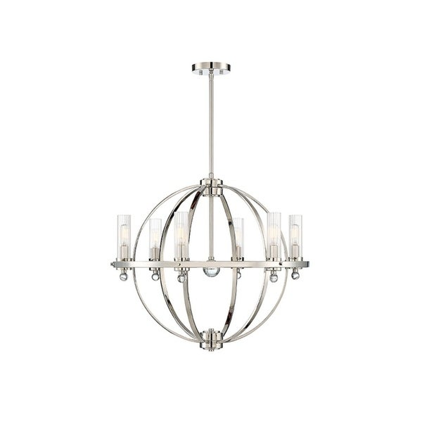 Belfast Polished Nickel and Clear Ribbed Glass Chandelier