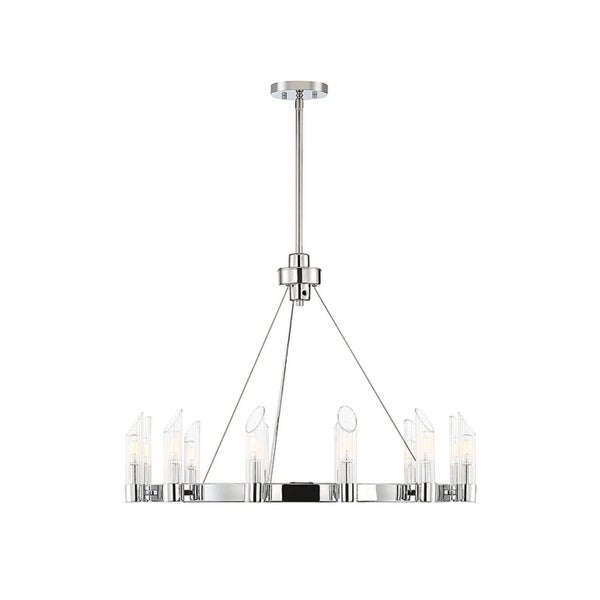 Baldwin Polished Chrome and Clear Ribbed Glass Chandelier