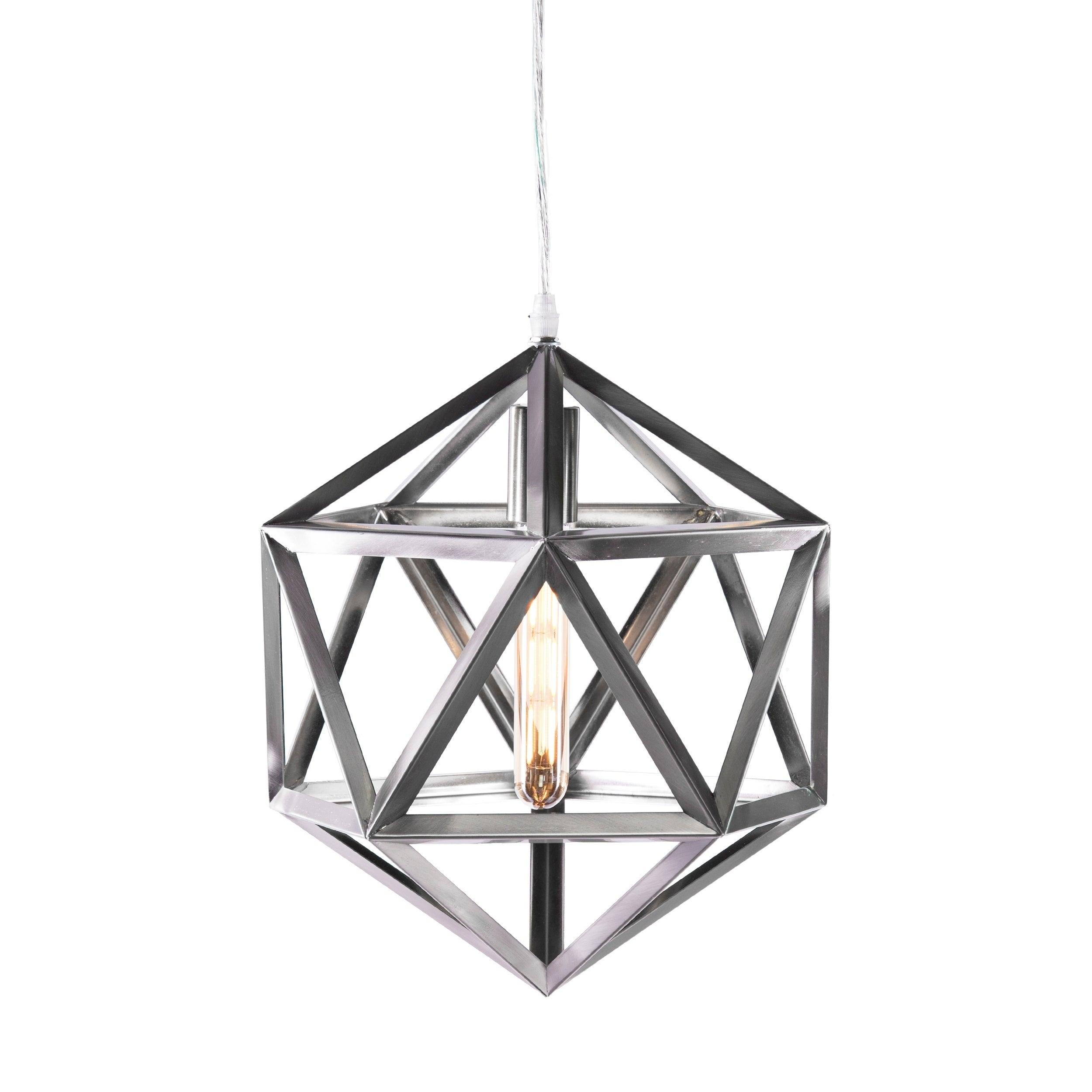 Carbon Loft Pepin Brushed Nickel Geometric Cage Pendant Lamp