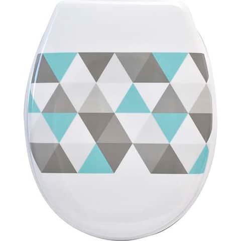 Evideco Nordik Printed Duroplast Oval Toilet Seat 17L x 14.6W - 17L X 14.64W x 2 H