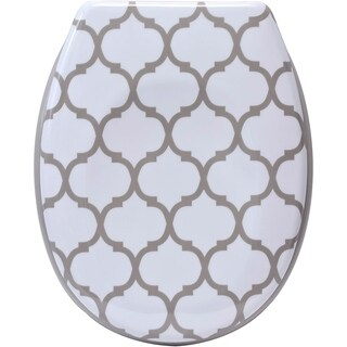 Evideco Escal Printed Duroplast Oval Toilet Seat 17L x 14.6 W