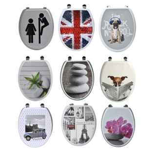Evideco REX French Bulldog Puppy Oval Toilet Seat Adjustable Zinc Hinges