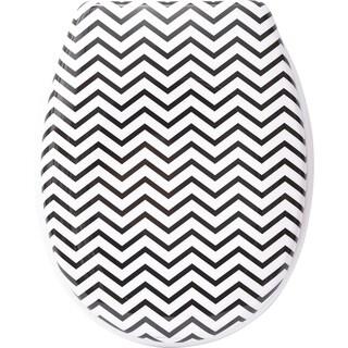 Evideco Zigzag Printed Duroplast Oval Toilet Seat 17L x 14.6W