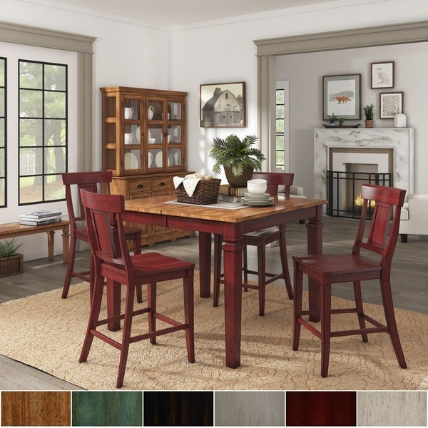Elena Berry Red Extendable Counter Height Dining Set with Panel Back Chairs by iNSPIRE Q Classic. Opens flyout.