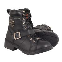 Women's Waterproof Side Buckle Leather Boot w/ Plain Toe