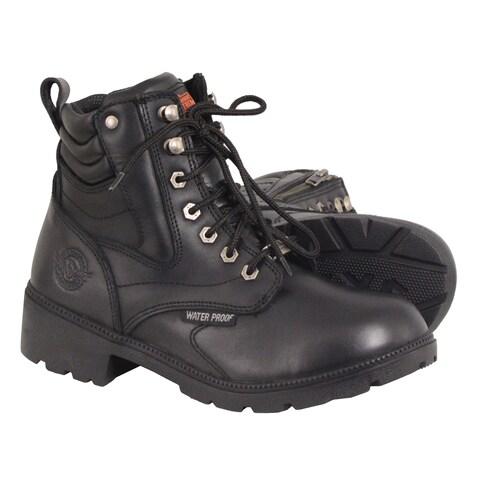 Women's Waterproof Side Zipper Plain Toe Boot