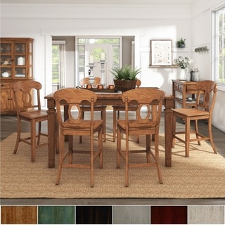 Elena Oak Extendable Counter Height Dining Set with Napoleon Back Chairs by iNSPIRE Q Classic