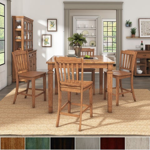Elena Oak Finish Extendable Counter Height Dining Set with Slat Back Chairs by iNSPIRE Q Classic