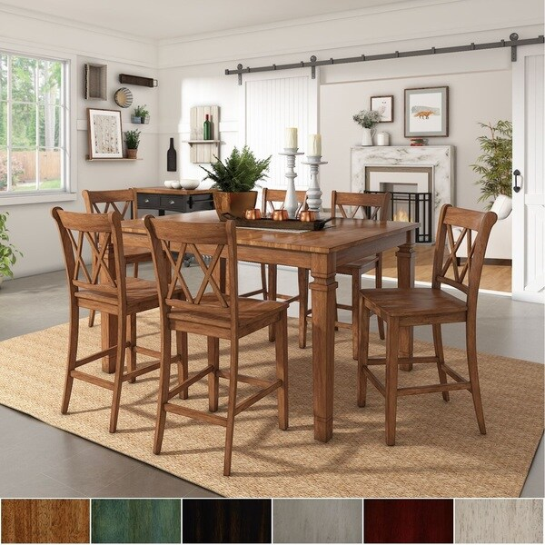 Elena Oak Extendable Counter Height Dining Set with X Back Chairs by iNSPIRE Q Classic