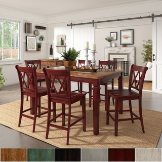 Elena Berry Red Extendable Counter Height Dining Set with Double X Back by iNSPIRE Q Classic