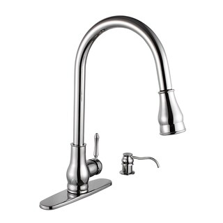 Maykke Brixton Single-Handle Pull-Down Sprayer Kitchen Faucet with Soap Dispenser
