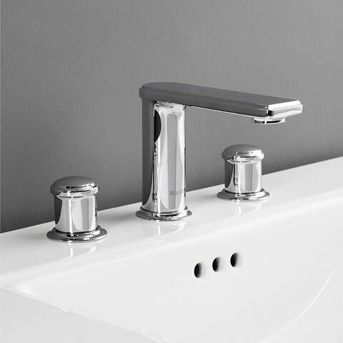 Maykke Arminius Three Piece 8 Inch Widespread Faucet, Polished Chrome