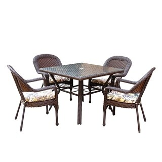 5 Pcs Resin Wicker Dining Set With Florals Cushion