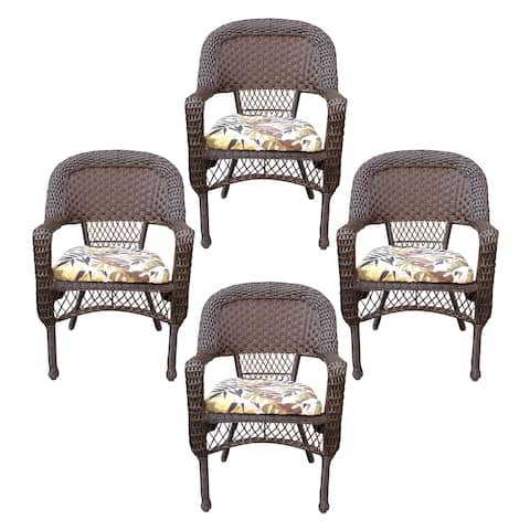 Resin Wicker Dining Chair With Florals Cushion-Set of 4