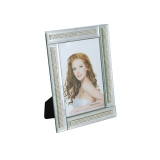 """Standing Rectangular Mirror Picture Frame With Segmented Crystal Strands, 4"""" x 6"""" Frame With Felt Backing And Locking Back"""