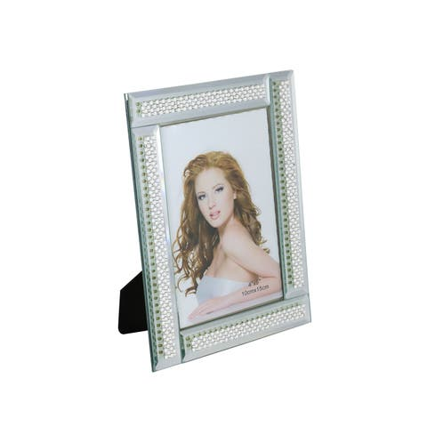 """Standing Rectangular Mirror Picture Frame With Segmented White Crystal Strands, 4"""" x 6"""" Frame With Felt Backing"""